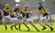 16 February 2020; Paul Morris of Wexford is tackled by Conor Browne, left, and John Donnelly of Kilkenny during the Allianz Hurling League Division 1 Group B Round 3 match between Wexford and Kilkenny at Chadwicks Wexford Park in Wexford. Photo by Ray McManus/Sportsfile