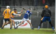 16 February 2020; Eibhear Quilligan of Clare saves a shot on goal by James Keyes of Laois during the Allianz Hurling League Division 1 Group B Round 3 match between Clare and Laois at Cusack Park in Ennis, Clare. Photo by Eóin Noonan/Sportsfile
