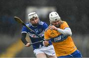 16 February 2020; Liam Corry of Clare is tackled by Stephen Bergin of Laois during the Allianz Hurling League Division 1 Group B Round 3 match between Clare and Laois at Cusack Park in Ennis, Clare. Photo by Eóin Noonan/Sportsfile