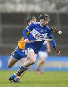 16 February 2020; James Keyes of Laois Ian Galvin of Clare during the Allianz Hurling League Division 1 Group B Round 3 match between Clare and Laois at Cusack Park in Ennis, Clare. Photo by Eóin Noonan/Sportsfile