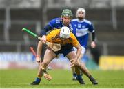 16 February 2020; Jack Browne of Clare in action against Willie Dunphy of Laois during the Allianz Hurling League Division 1 Group B Round 3 match between Clare and Laois at Cusack Park in Ennis, Clare. Photo by Eóin Noonan/Sportsfile