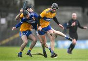 16 February 2020; James Keyes of Laois is tackled by Cathal Malone of Clare during the Allianz Hurling League Division 1 Group B Round 3 match between Clare and Laois at Cusack Park in Ennis, Clare. Photo by Eóin Noonan/Sportsfile