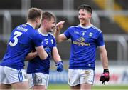 16 February 2020; Cavan players, from left, Padraig Faulkner, Stephen Murray, and Killian Brady celebrate after the Allianz Football League Division 2 Round 3 match between Laois and Cavan at MW Hire O'Moore Park in Portlaoise, Laois. Photo by Piaras Ó Mídheach/Sportsfile