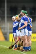 16 February 2020; Laois players stand for the playing of Amhrán na bhFiann prior to the Allianz Hurling League Division 1 Group B Round 3 match between Clare and Laois at Cusack Park in Ennis, Clare. Photo by Eóin Noonan/Sportsfile