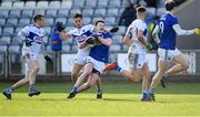 16 February 2020; Gerard Smith of Cavan is tackled by Brian Byrne of Laois during the Allianz Football League Division 2 Round 3 match between Laois and Cavan at MW Hire O'Moore Park in Portlaoise, Laois. Photo by Piaras Ó Mídheach/Sportsfile