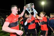 12 February 2020; UCC players celebrate with the cup after the Fitzgibbon Cup Final match between UCC and IT Carlow at Dublin City University Sportsgrounds in Glasnevin, Dublin. Photo by Piaras Ó Mídheach/Sportsfile