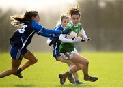 16 February 2020; Kathryn Sullivan of Mayo in action against Katie Murray, left, and Aileen Wall of Waterford during the Lidl Ladies National Football League Division 1 Round 3 match between Mayo and Waterford at Swinford Amenity Park in Swinford, Mayo. Photo by Sam Barnes/Sportsfile