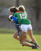 16 February 2020; Katie Murray of Waterford in action against Grace Kelly of Mayo during the Lidl Ladies National Football League Division 1 Round 3 match between Mayo and Waterford at Swinford Amenity Park in Swinford, Mayo. Photo by Sam Barnes/Sportsfile
