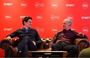 18 February 2020; Virgin Media Sport analysts Keith Andrews, left, and Graeme Souness giving their views ahead of the Champions League last 16 tie between Atletico Madrid and Liverpool on Tuesday night (8pm kick-off on Virgin Media Sport) during an Off The Ball Live gig in association with Virgin Media, at The Alex Hotel in Dublin. Photo by Brendan Moran/Sportsfile