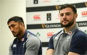 18 February 2020; Robbie Henshaw, right, and Bundee Aki during an Ireland Rugby press conference at the IRFU High Performance Centre at the Sport Ireland Campus in Dublin. Photo by Ramsey Cardy/Sportsfile