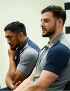 18 February 2020; Bundee Aki, left, and Robbie Henshaw during an Ireland Rugby press conference at the IRFU High Performance Centre at the Sport Ireland Campus in Dublin. Photo by Ramsey Cardy/Sportsfile