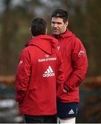 18 February 2020; Billy Holland, right, and head coach Johaan van Graan during Munster Rugby squad training at the University of Limerick in Limerick. Photo by David Fitzgerald/Sportsfile
