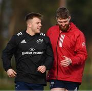18 February 2020; Alex McHenry, left, and Darren O'Shea during Munster Rugby squad training at the University of Limerick in Limerick. Photo by David Fitzgerald/Sportsfile