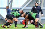 19 February 2020; Ireland front row forwards, including Andrew Porter, Dave Kilcoyne, Cian Healy and Rob Herring with national scrum coach John Fogarty during Ireland Rugby squad training at IRFU High Performance Centre at the Sport Ireland Campus in Dublin. Photo by Brendan Moran/Sportsfile