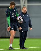 19 February 2020; Ross Byrne with kicking coach Richie Murphy  during Ireland Rugby squad training at IRFU High Performance Centre at the Sport Ireland Campus in Dublin. Photo by Brendan Moran/Sportsfile
