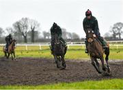 19 February 2020; David Porter on Billaway, right, on the gallops during a Willie Mullins Yard visit at Closutton in Bagenalstown, Co Carlow. Photo by Harry Murphy/Sportsfile