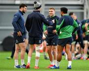 19 February 2020; Ireland backs, from left, Robbie Henshaw, Jonathan Sexton, Jordan Larmour, and Bundee Aki during squad training at IRFU High Performance Centre at the Sport Ireland Campus in Dublin. Photo by Brendan Moran/Sportsfile