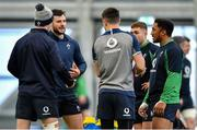 19 February 2020; Robbie Henshaw speaks to team-mates Jonathan Sexton, Conor Murray, Jordan Larmour and Bundee Aki during Ireland Rugby squad training at IRFU High Performance Centre at the Sport Ireland Campus in Dublin. Photo by Brendan Moran/Sportsfile