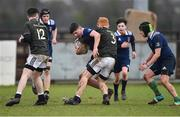 19 February 2020; Jack Crampton of North Midlands Area is tackled by Peter McCabe of Metro Area during the Shane Horgan Cup Round 4 match between Metro Area and North Midlands Area at Ashbourne RFC in Ashbourne, Co Meath. Photo by Piaras Ó Mídheach/Sportsfile