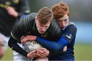 19 February 2020; Louis Perrim of Metro Area is tackled by Oisín Grufferty of North Midlands Area during the Shane Horgan Cup Round 4 match between Metro Area and North Midlands Area at Ashbourne RFC in Ashbourne, Co Meath. Photo by Piaras Ó Mídheach/Sportsfile