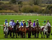 19 February 2020; Runners and riders prepare to start the Ten Weeks To Punchestown Festival Mares Maiden Hurdle at Punchestown Racecourse in Kildare. Photo by Harry Murphy/Sportsfile