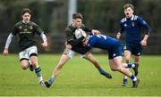 19 February 2020; Alex Flynn of Metro Area is tackled by Ben McMahon of North Midlands Area during the Shane Horgan Cup Round 4 match between Metro Area and North Midlands Area at Ashbourne RFC in Ashbourne, Co Meath. Photo by Piaras Ó Mídheach/Sportsfile