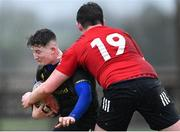 19 February 2020; Davy Williams of Midlands Area is tackled by Ronan Giles of North East Area during the Shane Horgan Cup Round 4 match between North East Area and Midlands Area at Ashbourne RFC in Ashbourne, Co Meath. Photo by Piaras Ó Mídheach/Sportsfile
