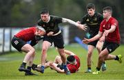 19 February 2020; Fionn O'Grady of Midlands Area is tackled by Peter McEntaggert of North East Area during the Shane Horgan Cup Round 4 match between North East Area and Midlands Area at Ashbourne RFC in Ashbourne, Co Meath. Photo by Piaras Ó Mídheach/Sportsfile