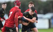 19 February 2020; Ross Ashmore of Midlands Area is tackled by Matthew Clinton of North East Area during the Shane Horgan Cup Round 4 match between North East Area and Midlands Area at Ashbourne RFC in Ashbourne, Co Meath. Photo by Piaras Ó Mídheach/Sportsfile