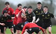 19 February 2020; Fionn O'Grady of Midlands Area is tackled by Ronan Giles, left, and Geordie Finglas of North East Area during the Shane Horgan Cup Round 4 match between North East Area and Midlands Area at Ashbourne RFC in Ashbourne, Co Meath. Photo by Piaras Ó Mídheach/Sportsfile