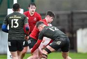 19 February 2020; Colm Wall of North East Area is tackled by Daire McCormack of Midlands Area during the Shane Horgan Cup Round 4 match between North East Area and Midlands Area at Ashbourne RFC in Ashbourne, Co Meath. Photo by Piaras Ó Mídheach/Sportsfile