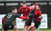 19 February 2020; Conall O'Callaghan of North East Area is tackled by Daire McCormack, left, and Davy Williams of Midlands Area during the Shane Horgan Cup Round 4 match between North East Area and Midlands Area at Ashbourne RFC in Ashbourne, Co Meath. Photo by Piaras Ó Mídheach/Sportsfile