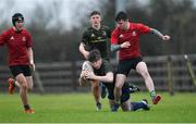19 February 2020; James Buckley of Midlands Area is tackled by Christian McCloskey of North East Area during the Shane Horgan Cup Round 4 match between North East Area and Midlands Area at Ashbourne RFC in Ashbourne, Co Meath. Photo by Piaras Ó Mídheach/Sportsfile