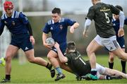 19 February 2020; Jamie Carroll of North Midlands Area is tackled by Oscar Hurley of Metro Area during the Shane Horgan Cup Round 4 match between Metro Area and North Midlands Area at Ashbourne RFC in Ashbourne, Co Meath. Photo by Piaras Ó Mídheach/Sportsfile