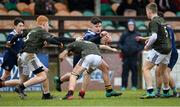 19 February 2020; Mark Alexander of North Midlands Area is tackled by Cian McMahon of Metro Area during the Shane Horgan Cup Round 4 match between Metro Area and North Midlands Area at Ashbourne RFC in Ashbourne, Co Meath. Photo by Piaras Ó Mídheach/Sportsfile