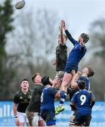 19 February 2020; Harry Bradbury of North Midlands Area and Cian McMahon of Metro Area contest a line-out during the Shane Horgan Cup Round 4 match between Metro Area and North Midlands Area at Ashbourne RFC in Ashbourne, Co Meath. Photo by Piaras Ó Mídheach/Sportsfile