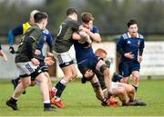 19 February 2020; Sean Ward of North Midlands Area is tackled by Tom Larke, left, and Turlough O'Brien of Metro Area during the Shane Horgan Cup Round 4 match between Metro Area and North Midlands Area at Ashbourne RFC in Ashbourne, Co Meath. Photo by Piaras Ó Mídheach/Sportsfile