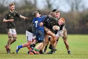 19 February 2020; Turlough O'Brien of Metro Area is tackled by Mark Alexander of North Midlands Area, 7, during the Shane Horgan Cup Round 4 match between Metro Area and North Midlands Area at Ashbourne RFC in Ashbourne, Co Meath. Photo by Piaras Ó Mídheach/Sportsfile