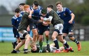 19 February 2020; Sean Tipper of North Midlands Area in action against Turlough O'Brien, left, and Tom Larke of Metro Area during the Shane Horgan Cup Round 4 match between Metro Area and North Midlands Area at Ashbourne RFC in Ashbourne, Co Meath. Photo by Piaras Ó Mídheach/Sportsfile