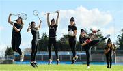 """20 February 2020; Today saw the launch of the AIG """"Show Your Skills' Challenge in support of 20x20. AIG are calling on women and girls of all ages, all abilities and all sports to showcase their talents by entering the online competition at aig.ie/skills to be in with a chance to win a monthly €1,000 prize. Pictured are, from left, Tennis player Grainne O'Neill, Badminton's Sara Boyle, Dublin camogie player Laura Twomey, Dublin footballer Leah Caffrey, Karate international Caradh O'Donovan and Athlete Nadia Power, at Parnell Park, in Dublin. Photo by Seb Daly/Sportsfile"""