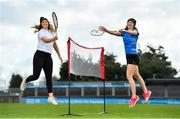 """20 February 2020; Tennis player Grainne O'Neill, left, and badminton's Sara Boyle were in Parnell Park today launching the AIG """"Show Your Skills' Challenge in support of 20x20. AIG are calling on women and girls of all ages, all abilities and all sports to showcase their talents by entering the online competition at aig.ie/skills to be in with a chance to win a monthly €1,000 prize. Photo by Seb Daly/Sportsfile"""