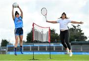 """20 February 2020; Dublin footballer Leah Caffrey, left, and tennis player Grainne O'Neill were in Parnell Park today launching the AIG """"Show Your Skills' Challenge in support of 20x20. AIG are calling on women and girls of all ages, all abilities and all sports to showcase their talents by entering the online competition at aig.ie/skills to be in with a chance to win a monthly €1,000 prize. Photo by Seb Daly/Sportsfile"""