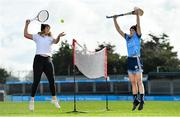 "20 February 2020; Tennis player Grainne O'Neill, left, and Dublin camogie player Laura Twomey were in Parnell Park today launching the AIG ""Show Your Skills' Challenge in support of 20x20. AIG are calling on women and girls of all ages, all abilities and all sports to showcase their talents by entering the online competition at aig.ie/skills to be in with a chance to win a monthly €1,000 prize. Photo by Seb Daly/Sportsfile"