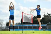 """20 February 2020; Dublin camogie player Laura Twomey, left, and badminton's Sara Boyle were in Parnell Park today launching the AIG """"Show Your Skills' Challenge in support of 20x20. AIG are calling on women and girls of all ages, all abilities and all sports to showcase their talents by entering the online competition at aig.ie/skills to be in with a chance to win a monthly €1,000 prize. Photo by Seb Daly/Sportsfile"""