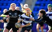 20 February 2020; Sophie Lyons of North Midlands is tackled by Eleanor Furlong and Grainne O'Sullivan of Metro Area during the Leinster Rugby U18s Girls Area Blitz match between North Midlands and Metro Area at Energia Park in Dublin. Photo by Matt Browne/Sportsfile