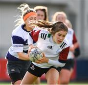 20 February 2020; Rachel Conroy of Midlands Area is tackled by Sophie Lyons of North Midlands during the Leinster Rugby U18s Girls Area Blitz match between Midlands Area and North Midlands at Energia Park in Dublin. Photo by Matt Browne/Sportsfile