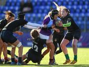 20 February 2020; Ava Kavanagh of South East Area is tackled by Hannah Hodges, Siofra Ni Bhrian and Eleanor Furlong of Metro Area during the Leinster Rugby U18s Girls Area Blitz match between South East Area and Metro Area at Energia Park in Dublin. Photo by Matt Browne/Sportsfile