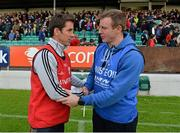 28 June 2013; Carlow manager Anthony Rainbow, left, and Laois manager Justin McNulty exchange a handshake after the game. GAA Football All-Ireland Senior Championship, Round 1, Carlow v Laois, Dr. Cullen Park, Carlow. Picture credit: Diarmuid Greene / SPORTSFILE