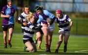 20 February 2020; Jennifer Dunne of South East Area is tackled by Victoria Chanders and Emma Larkin of North Midlands during the Leinster Rugby U18s Girls Area Blitz match between South East Area and North Midlands at Energia Park in Dublin. Photo by Matt Browne/Sportsfile