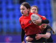 20 February 2020; Alanna Caffrey of North East is tackled by Siofra Ni Bhrian of Metro Area during the Leinster Rugby U18s Girls Area Blitz match between North East and Metro Area at Energia Park in Dublin. Photo by Matt Browne/Sportsfile